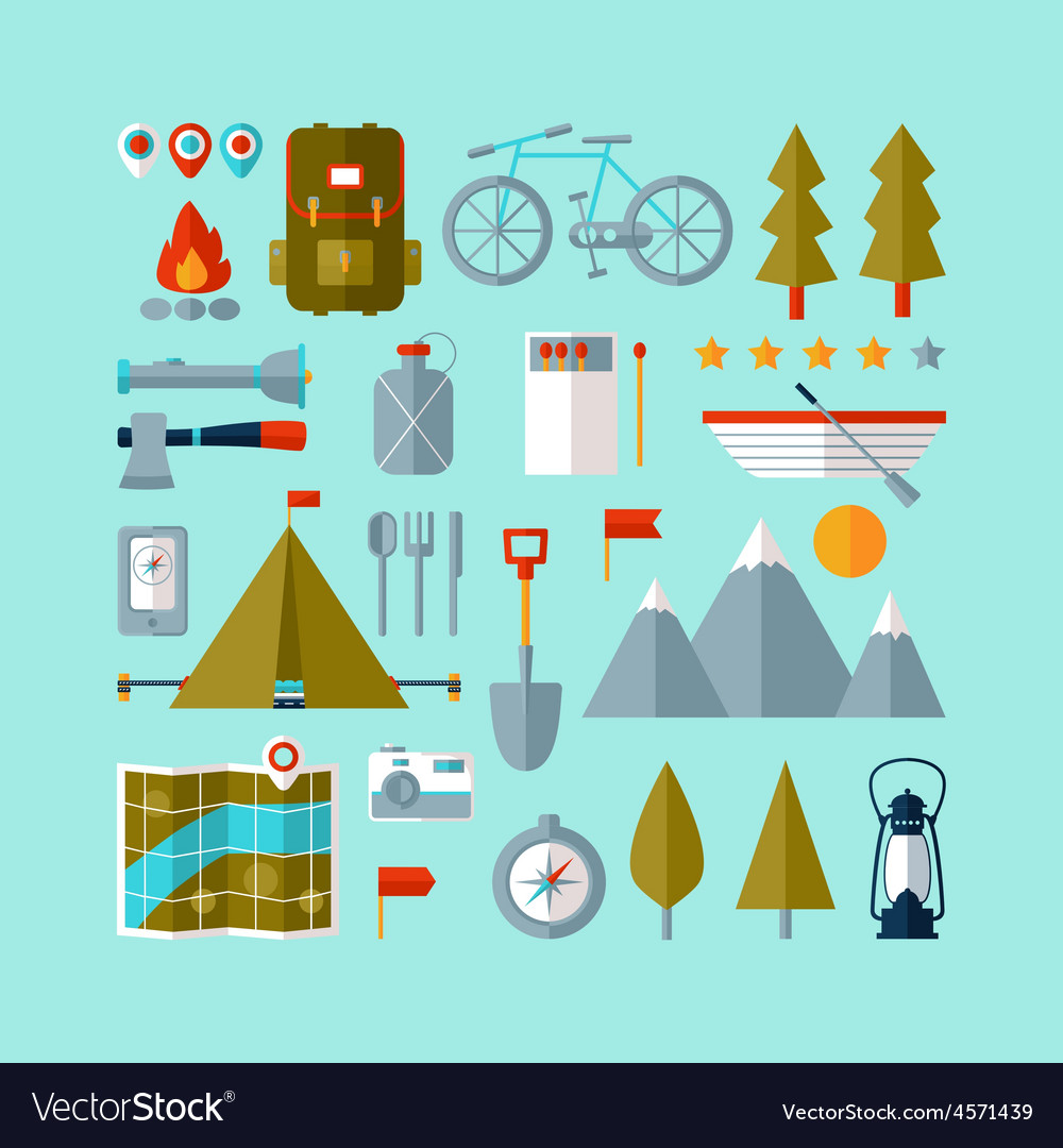 Camping equipment icons set flat design