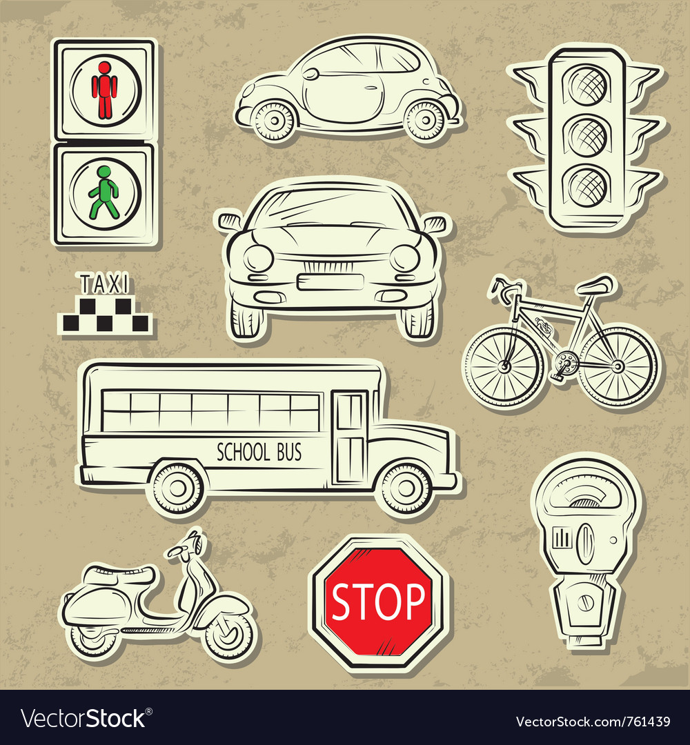 City traffic icons vector