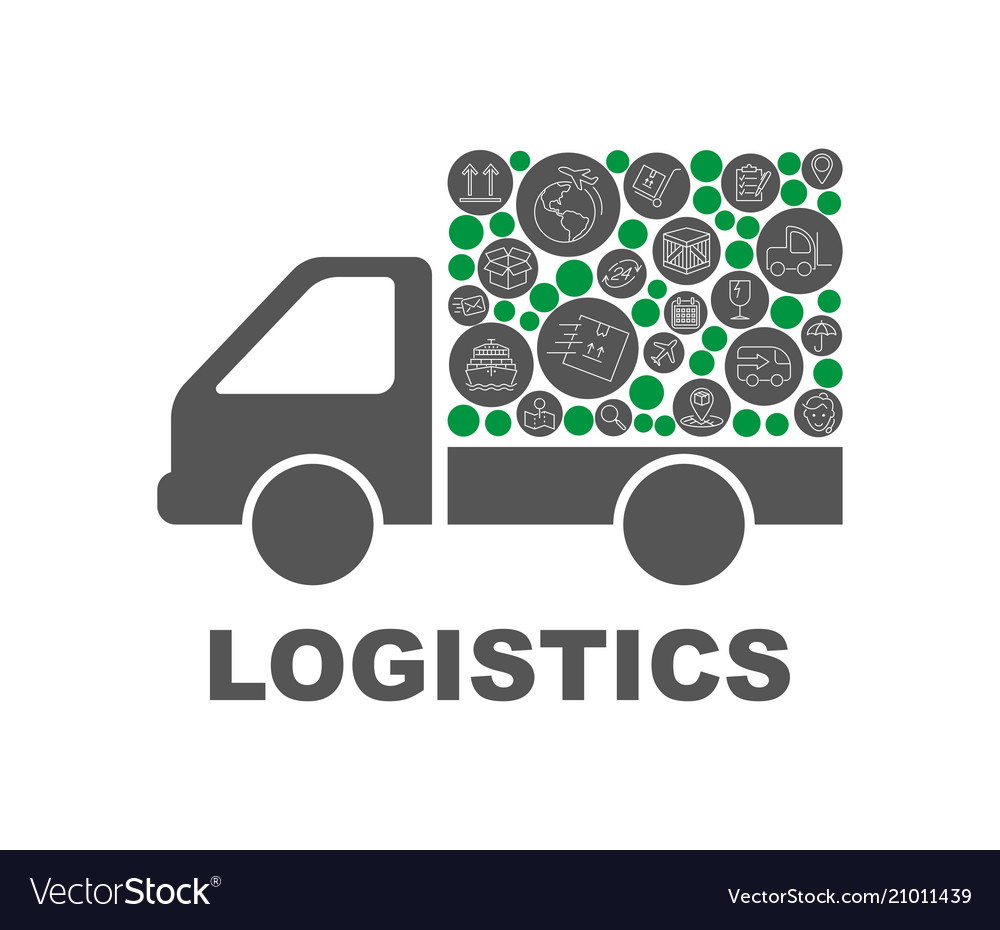 Color circles flat icons in a truck shape