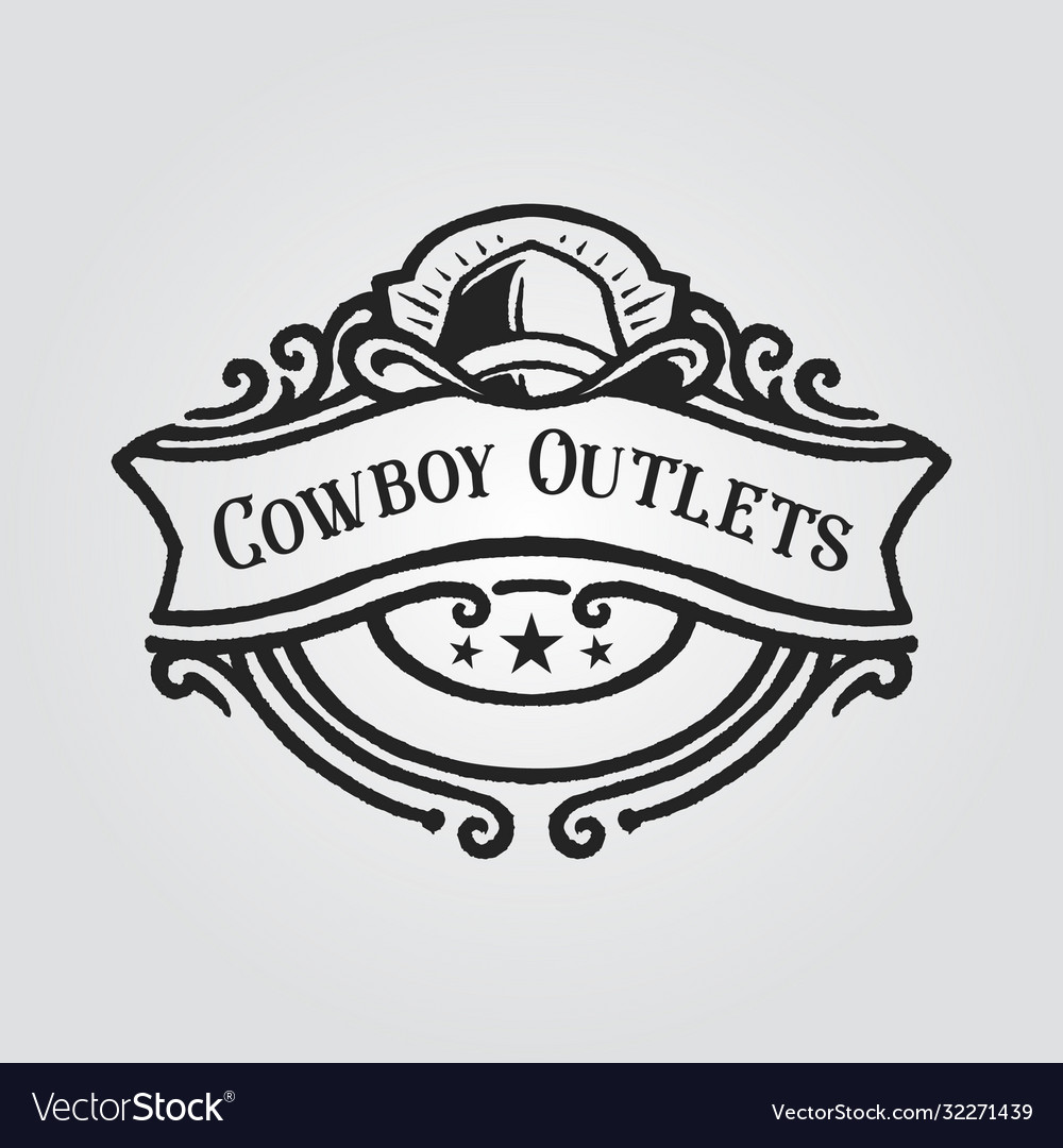 Cowboy hat badge logo with banner