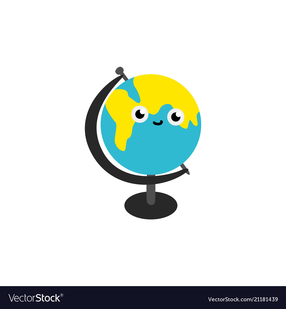 Cute globe sphere cartoon character isolated on