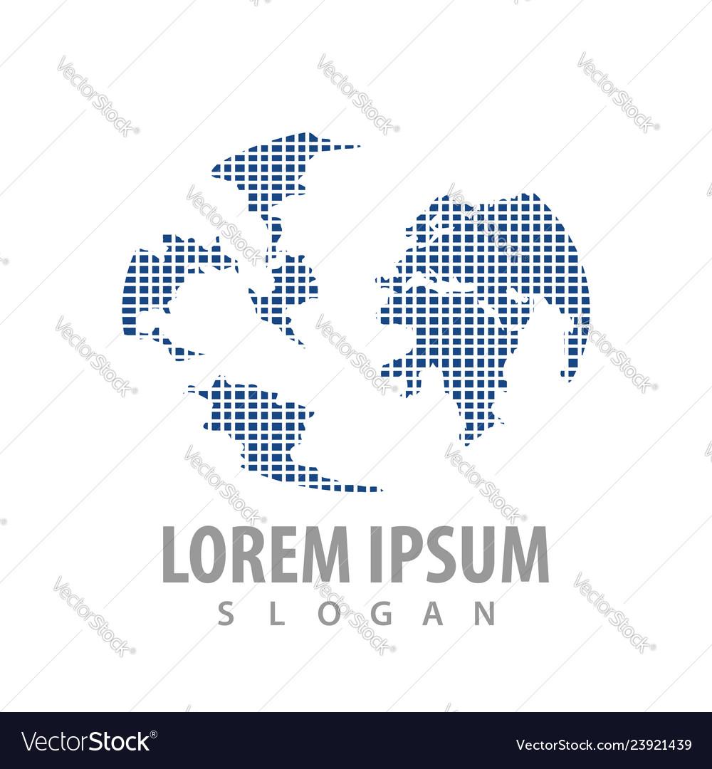 Digital pixel map world logo concept design