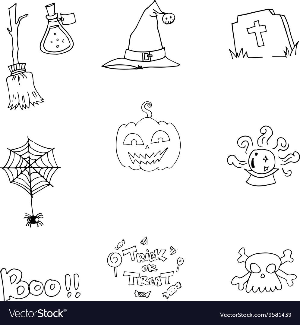 Element flat Halloween doodle