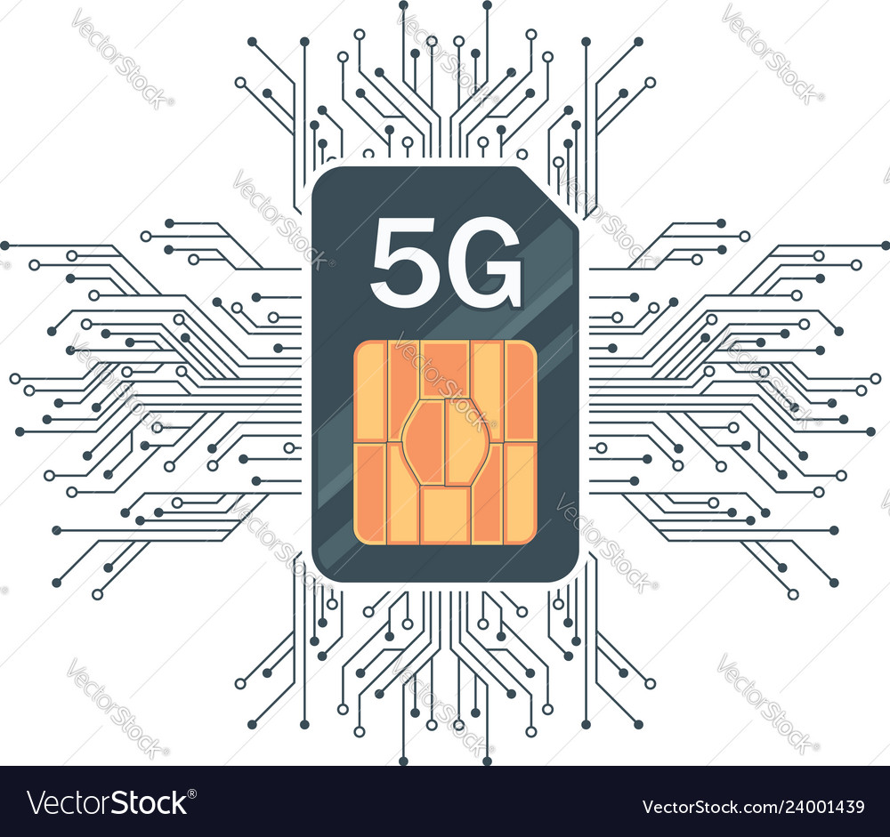 Flat 5g sim card technology with microelectronics