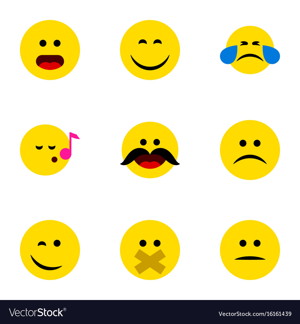 Flat icon expression set of hush cold sweat