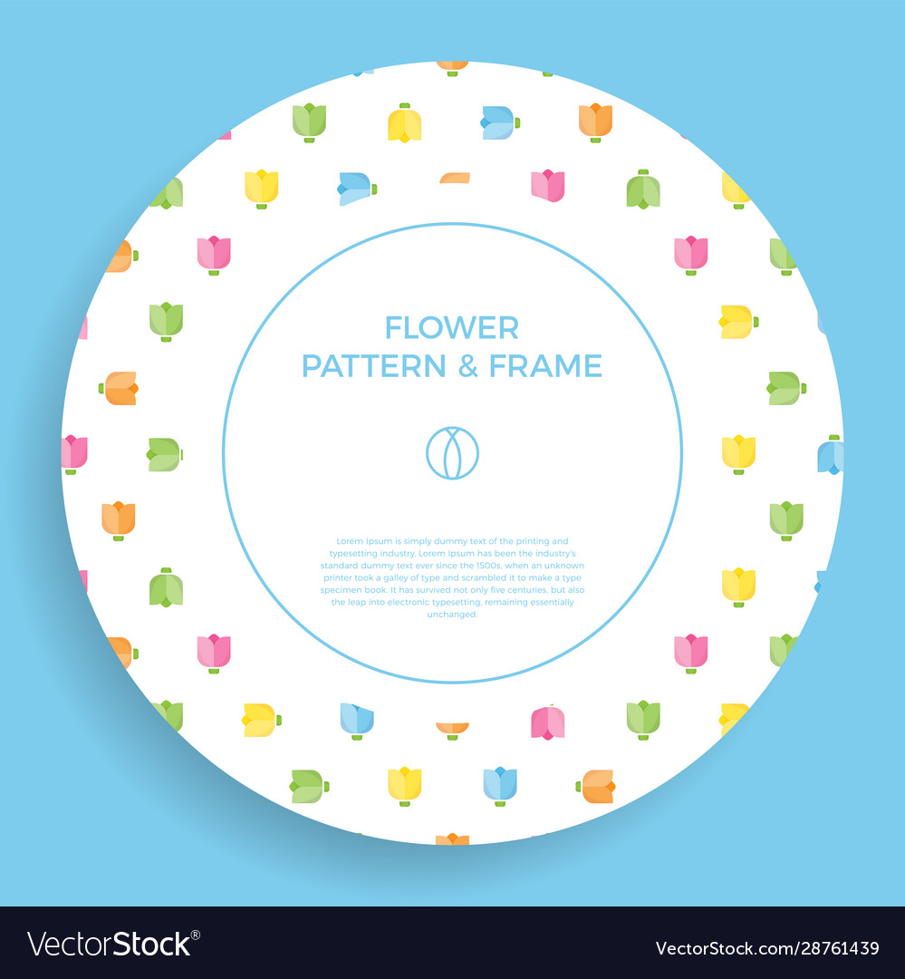 Flat tulip abstract shapes frame border with