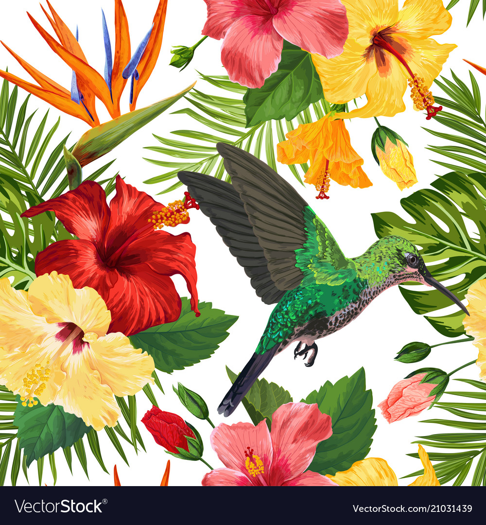 Floral tropical seamless pattern with hummingird