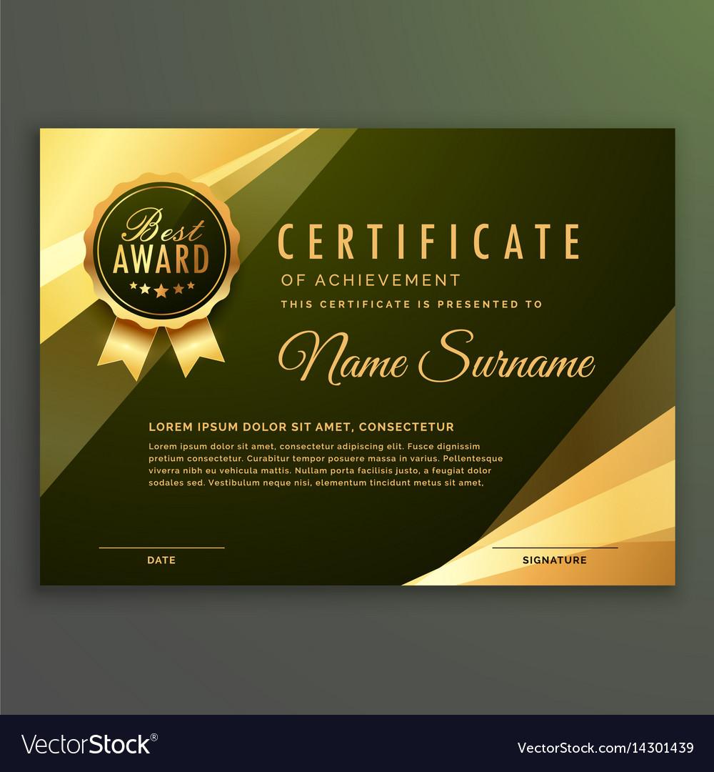 Golden premium diploma certificate design vector image