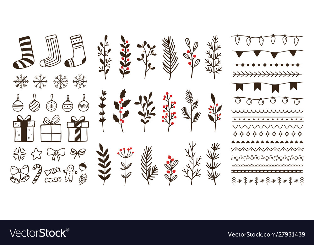 Hand drawn ornamental winter elements doodle