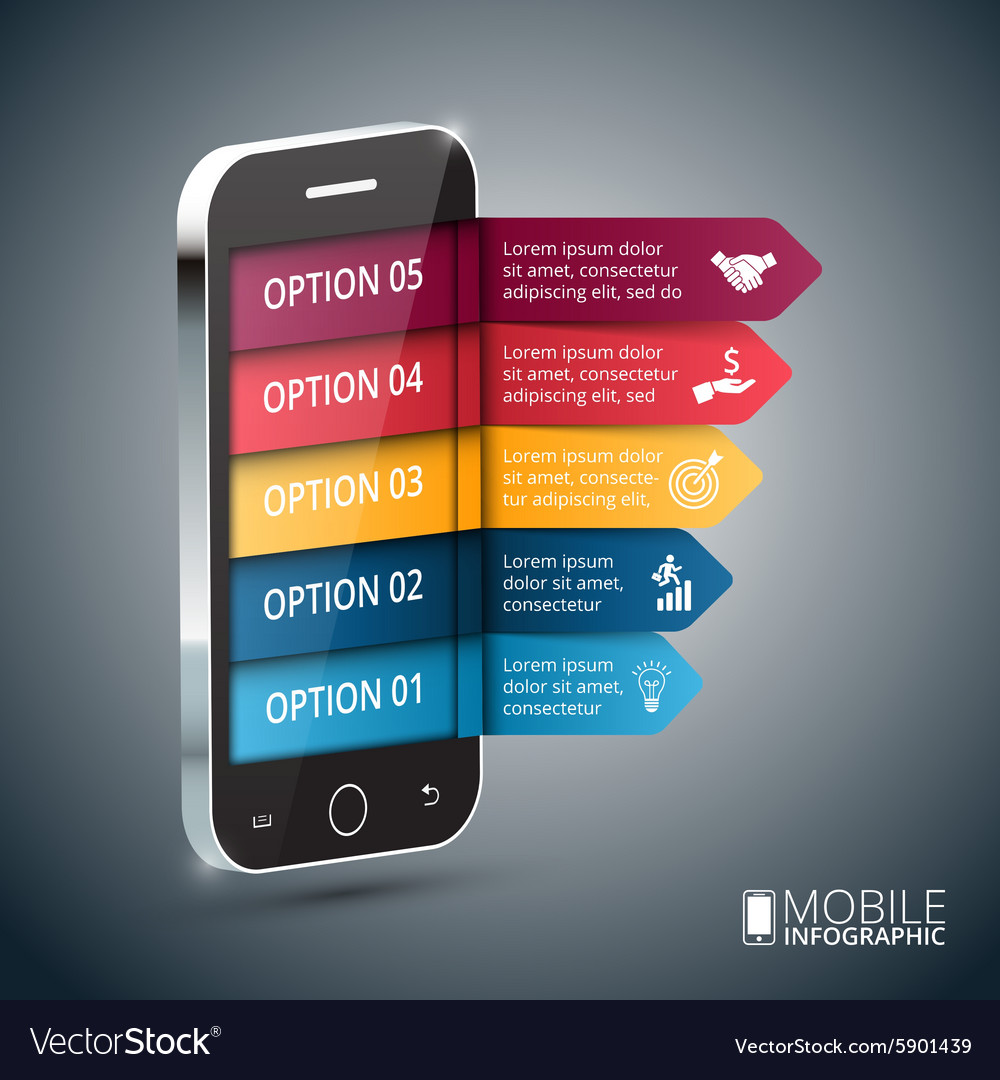 Isometric mobile for infographic