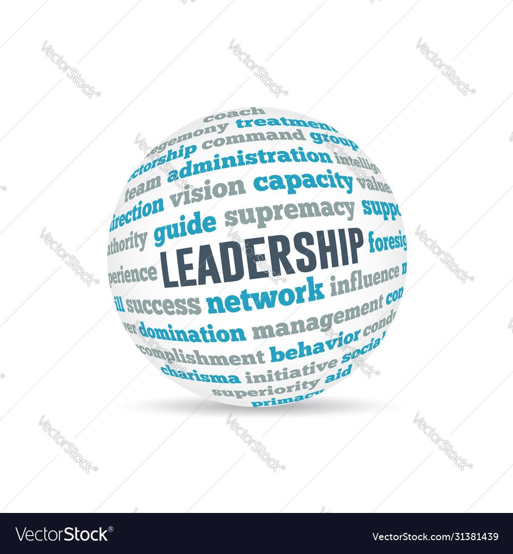 Leadership sphere concept wordcloud design
