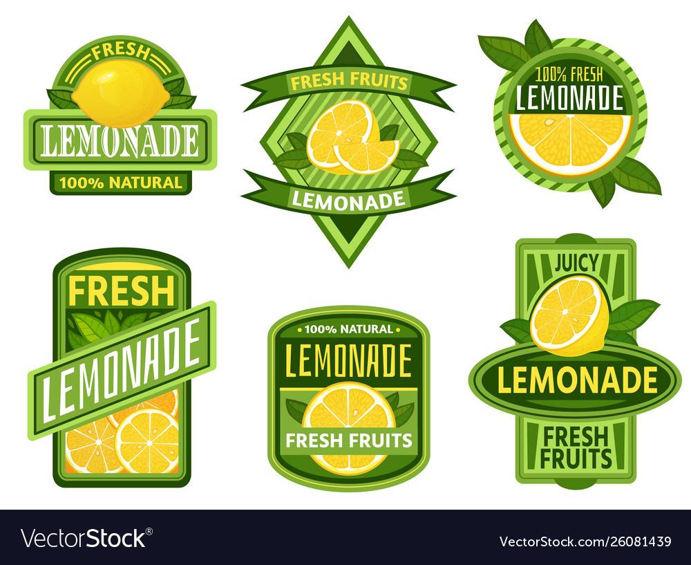 Lemonade badges lemon drink emblem badge fresh
