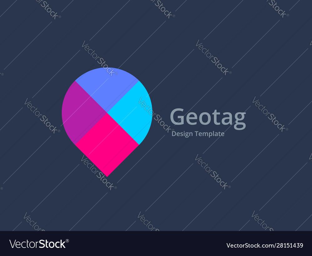 Mosaic geotag or location pin logo icon design
