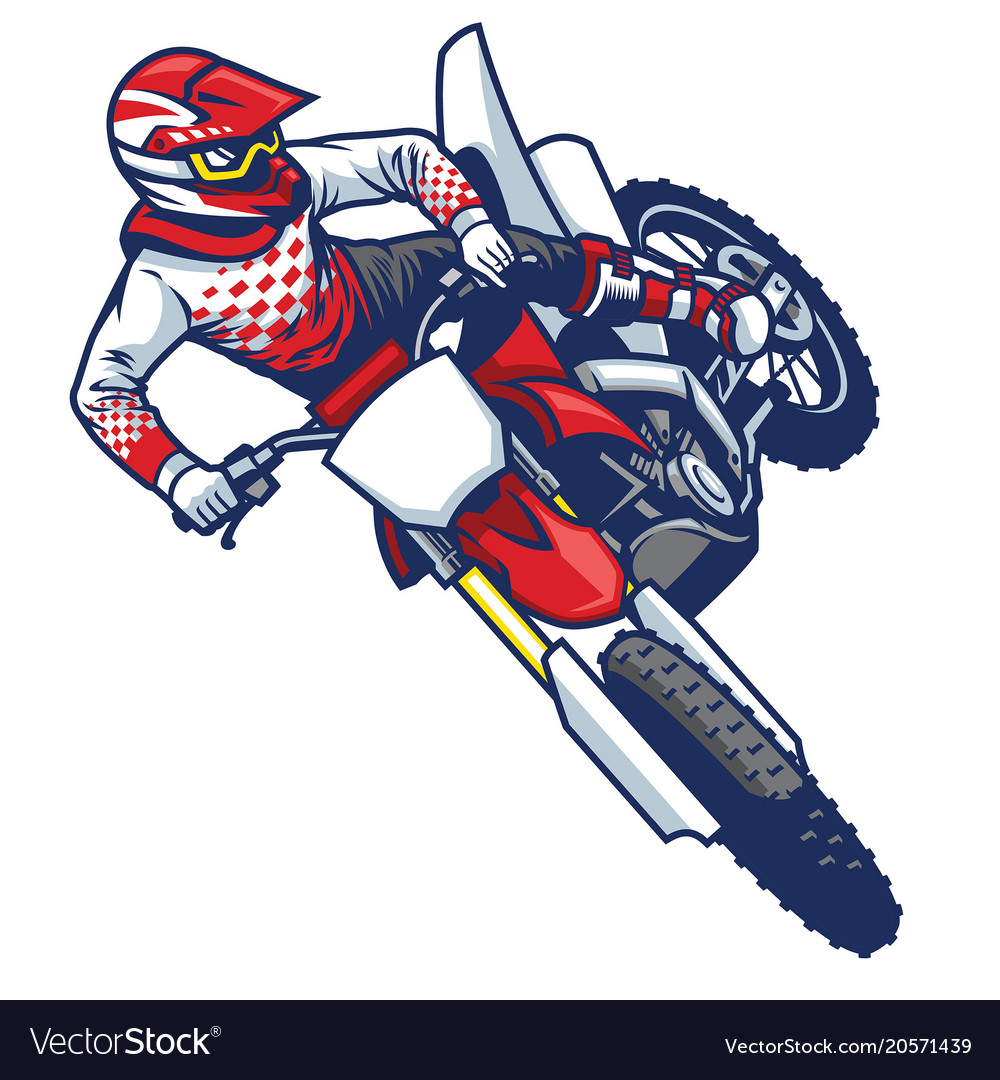 Motocross Rider Doing Jumping Whip Trick Vector Image