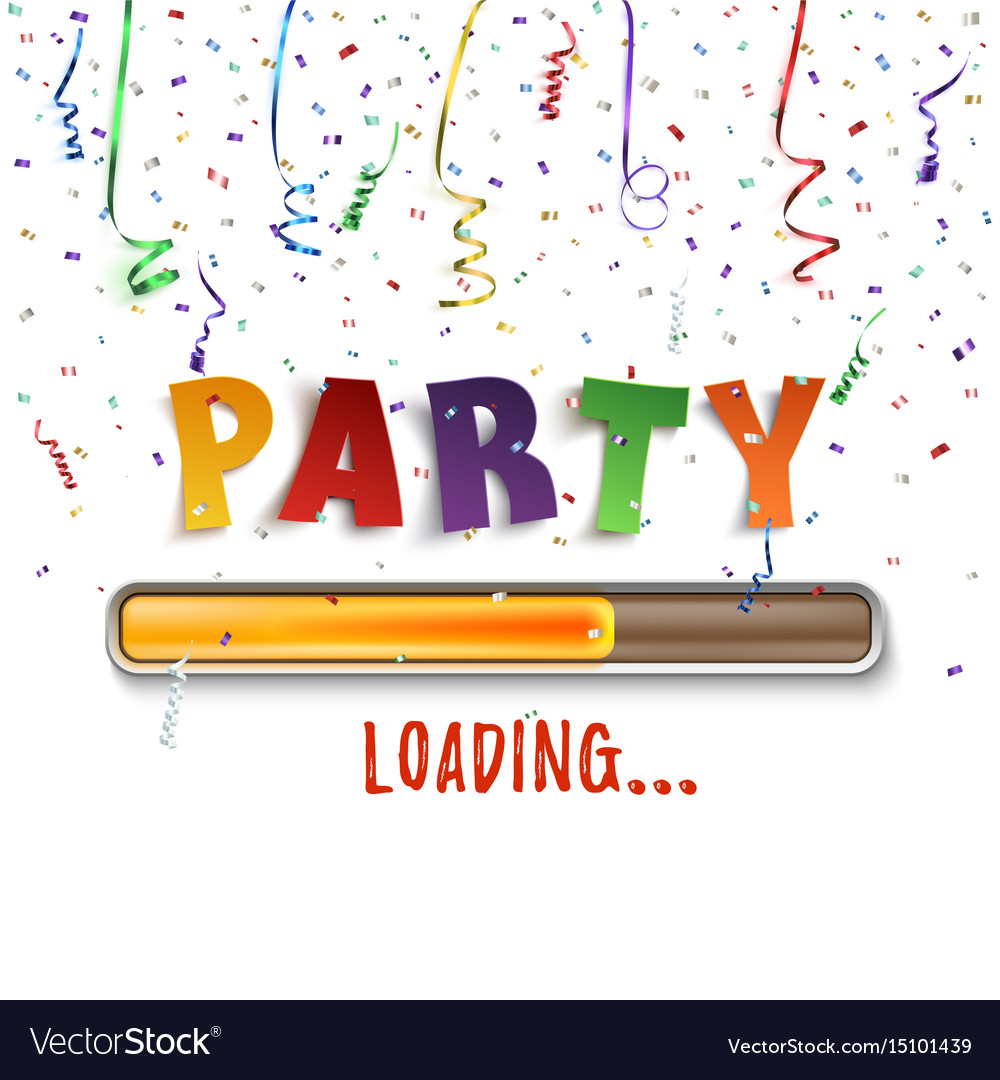 Party loading poster template with confetti and