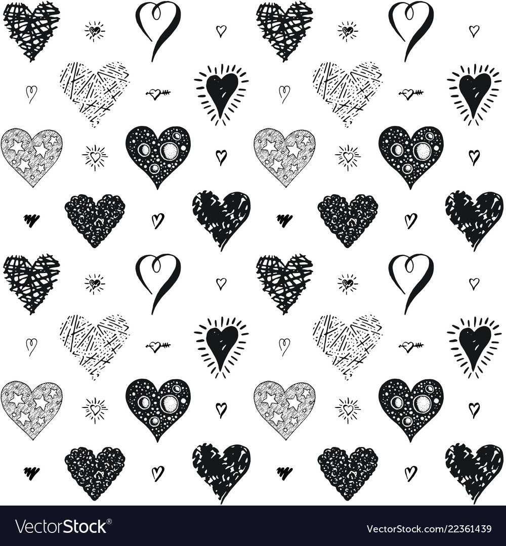 Seamless hearts pattern hand drawn sketch