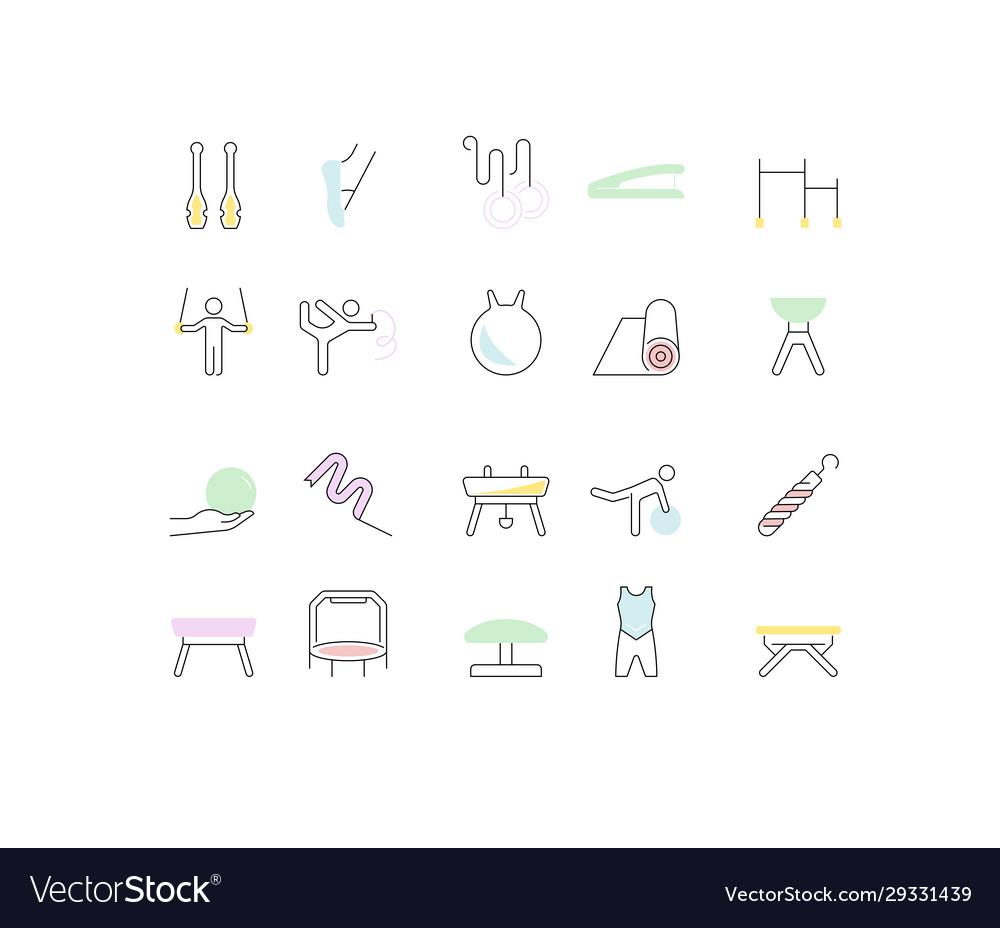 Set line icons gymnastics