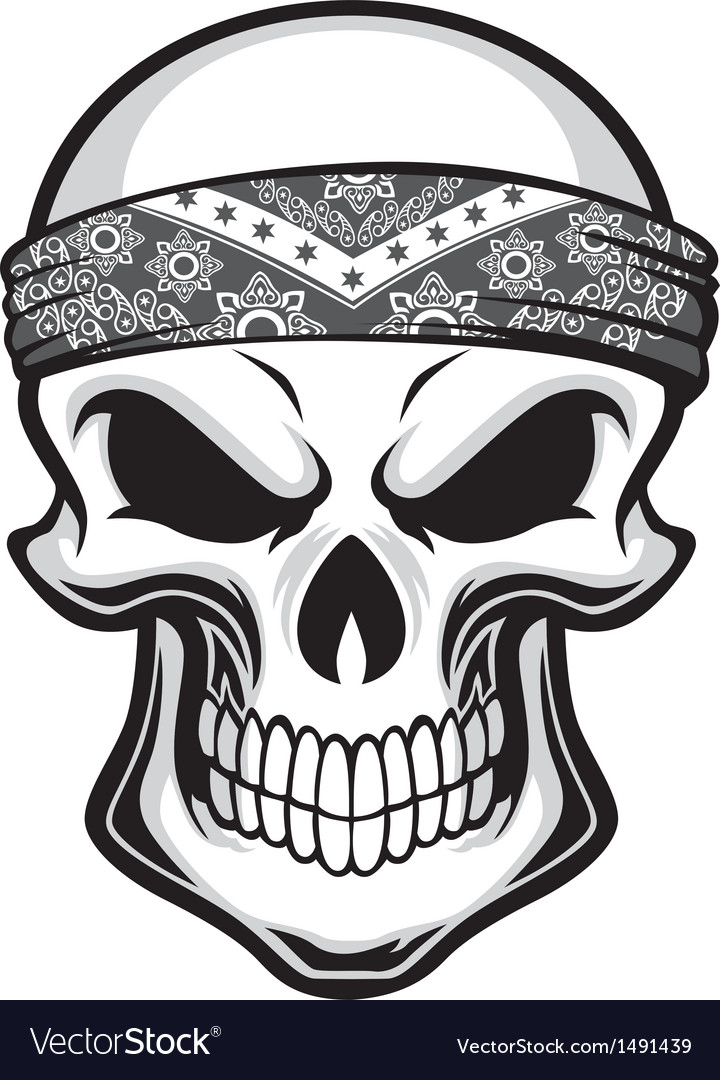 skull wearing bandana royalty free vector image rh vectorstock com banana victoria sponge cake bandana vector