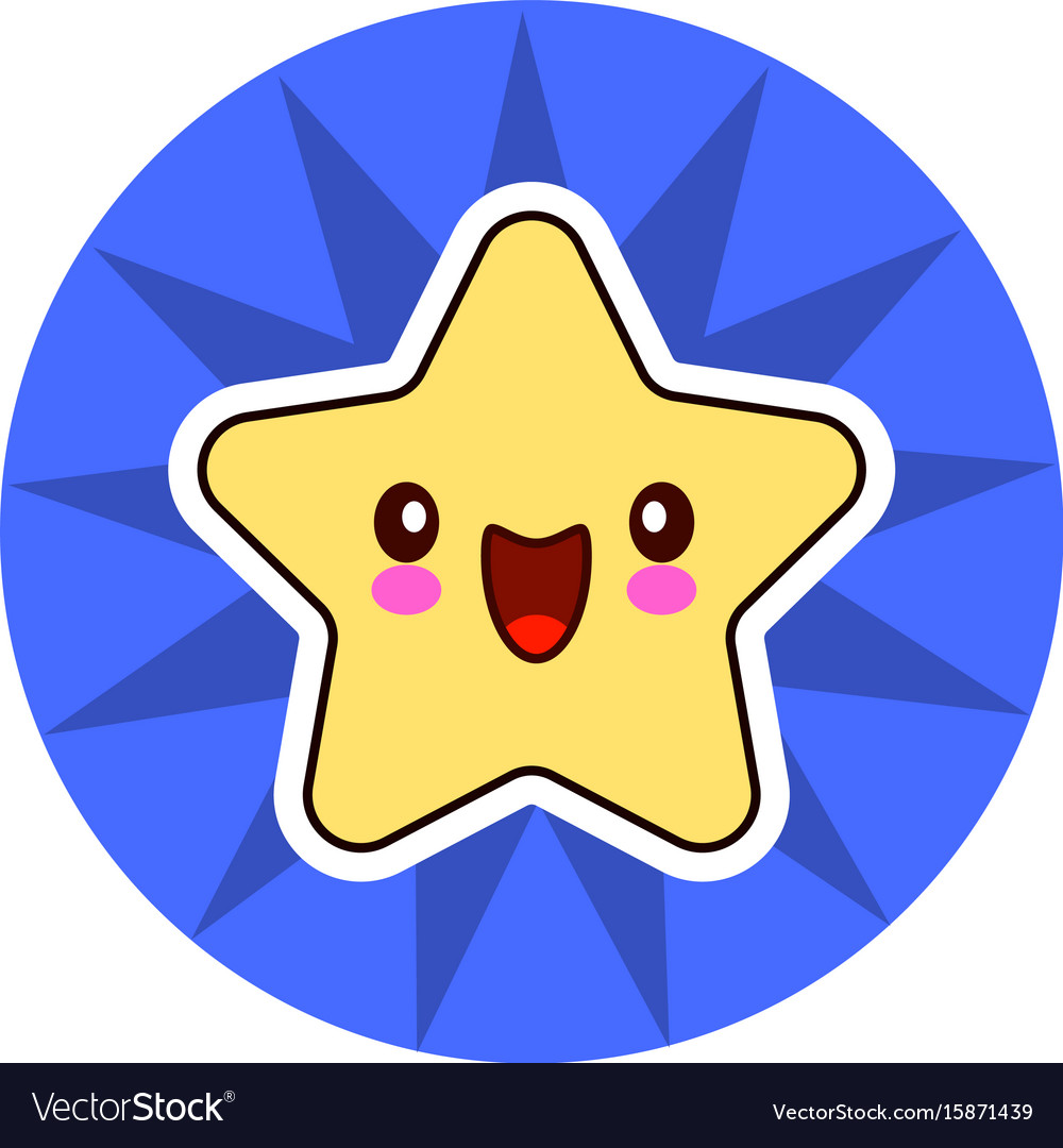Star face emoticon cute kawaii character on blue
