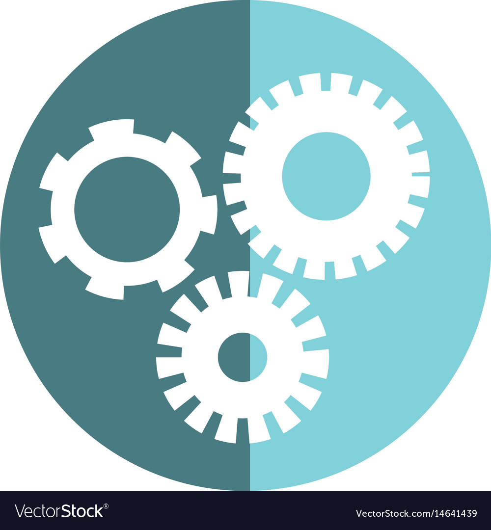 Sticker industry gears engineering process vector image