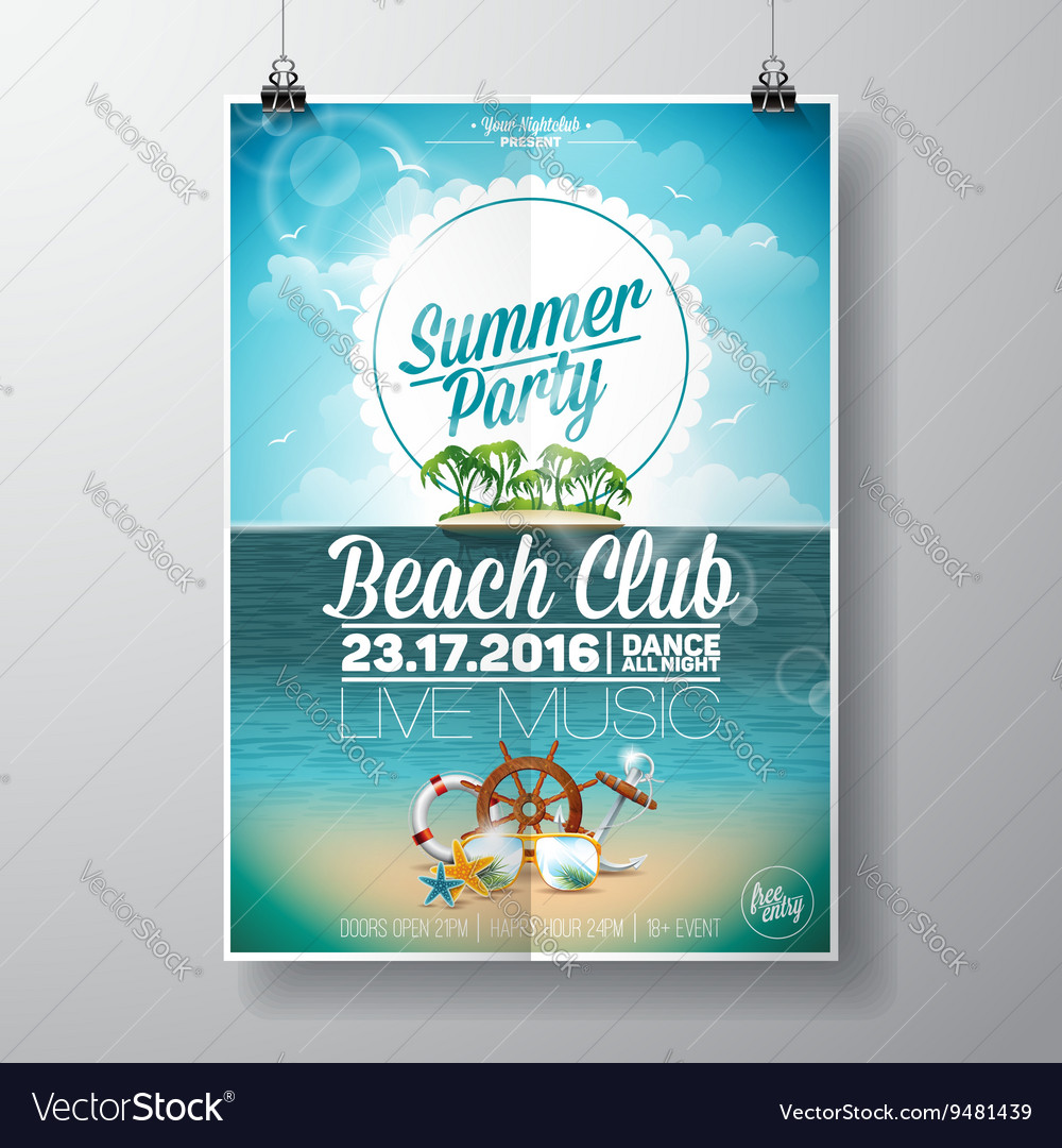 Summer Beach Party Flyer Design with palms