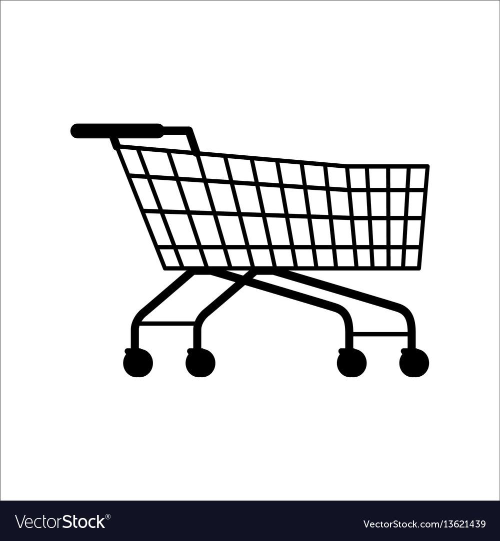 Supermarket shopping empty cart isolated on white