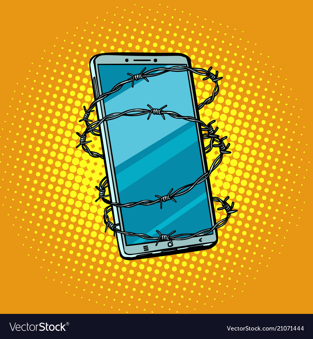 Barbed wire and telephone concept of freedom