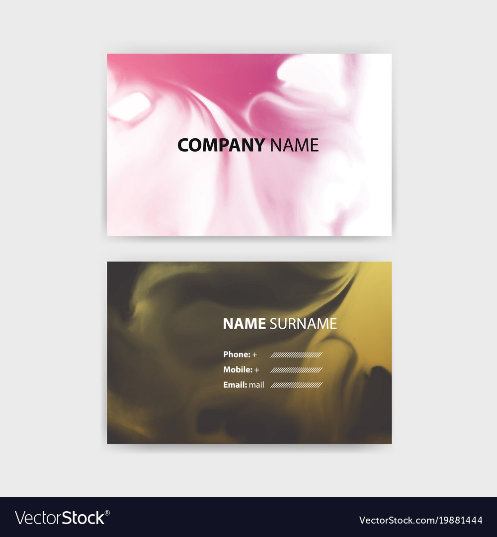 Business card template with ink background design vector image colourmoves
