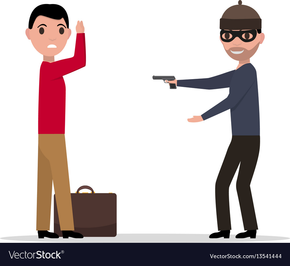 Cartoon robber with a gun robbing a man
