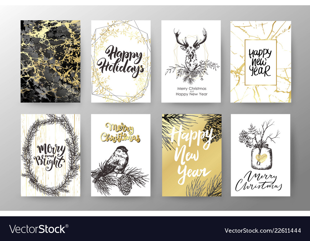christmas card happy new year invitation design vector image