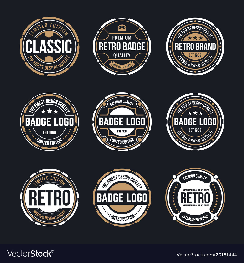 82b9317f86106 Circle vintage and retro badge design collection Vector Image