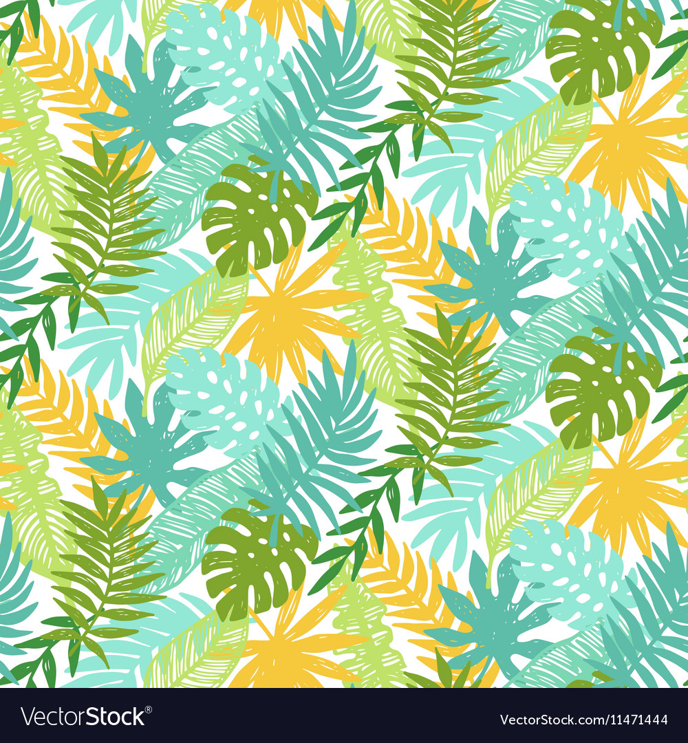 Colorful hawaiian plants seamless pattern