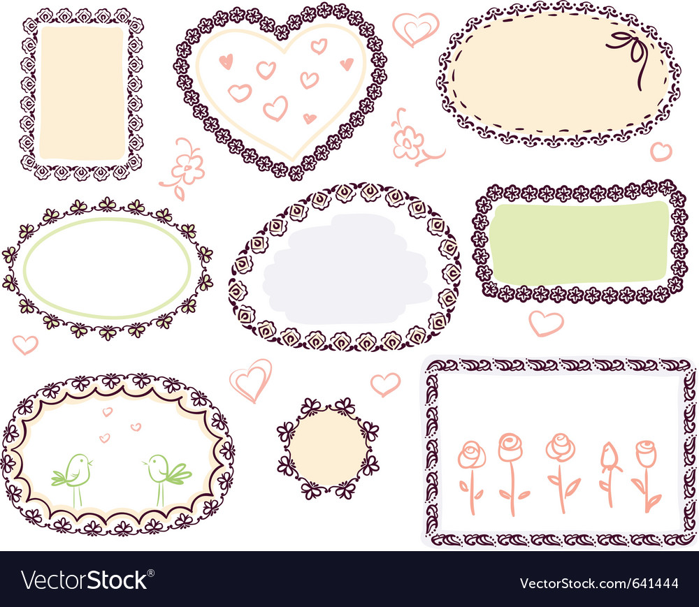 Doodle floral frame set