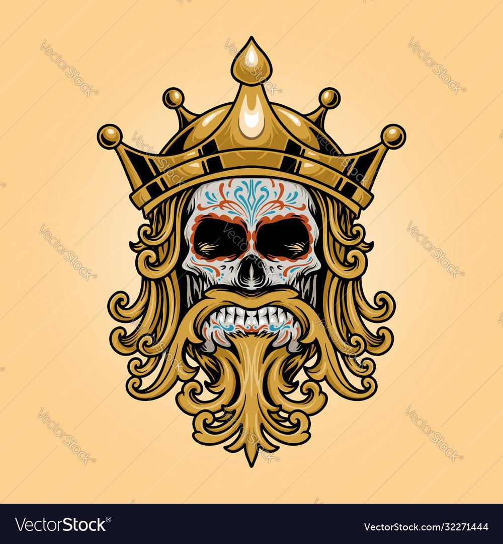 King crown skull dia de los muertos logo gold