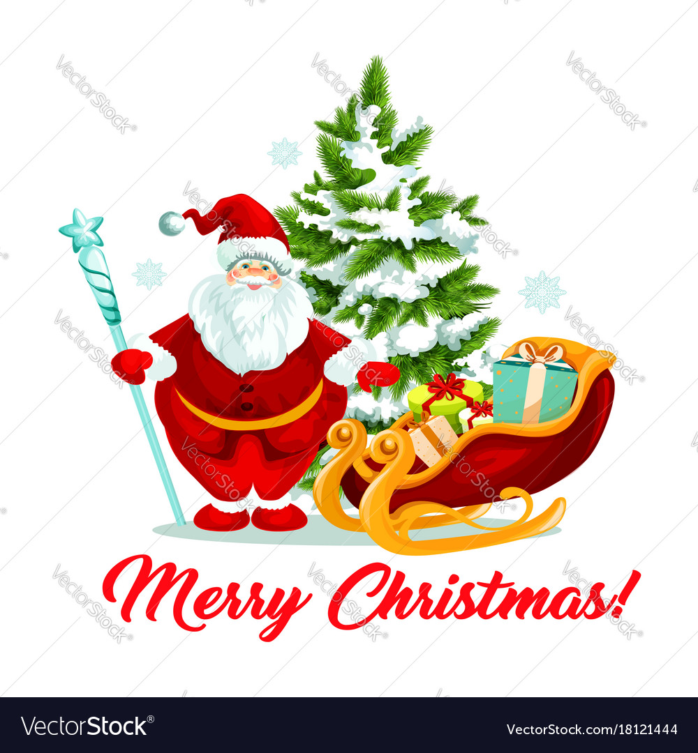 Merry christmas santa gifts sleigh tree