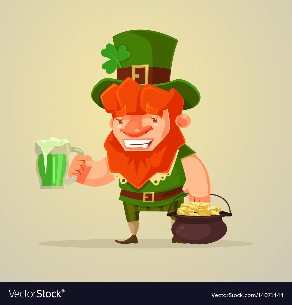 Patrick day man with beer and gold coins vector image