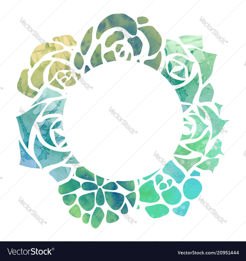 Round frame of watercolor succulents with a top