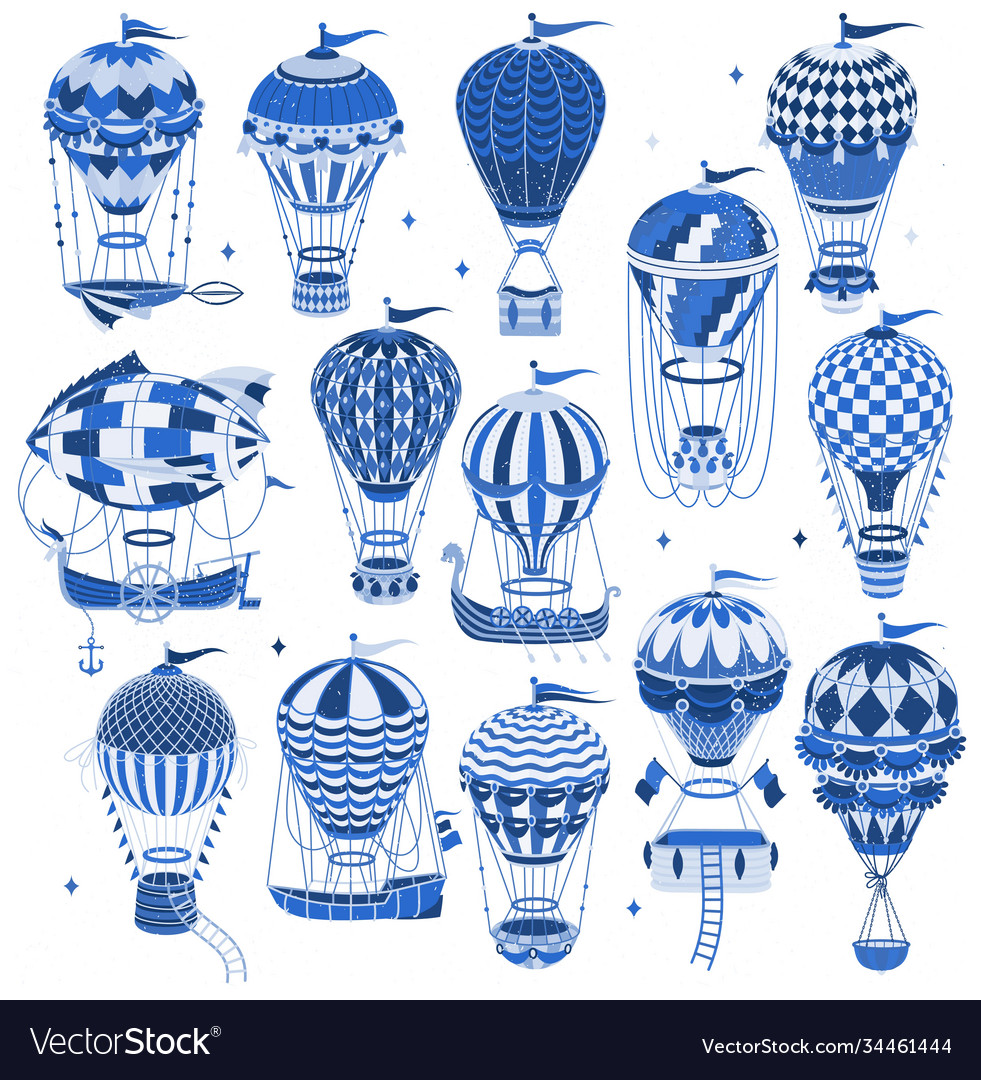 Set hot air balloons isolated on white