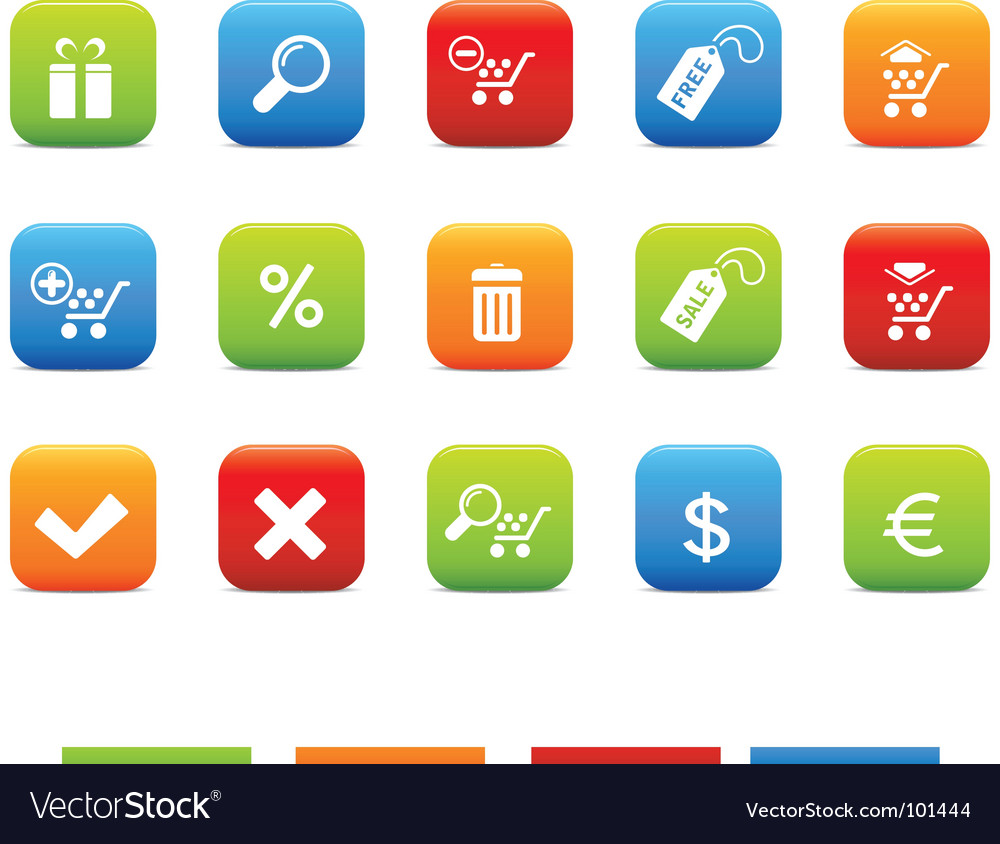 Shopping icons 4 color set