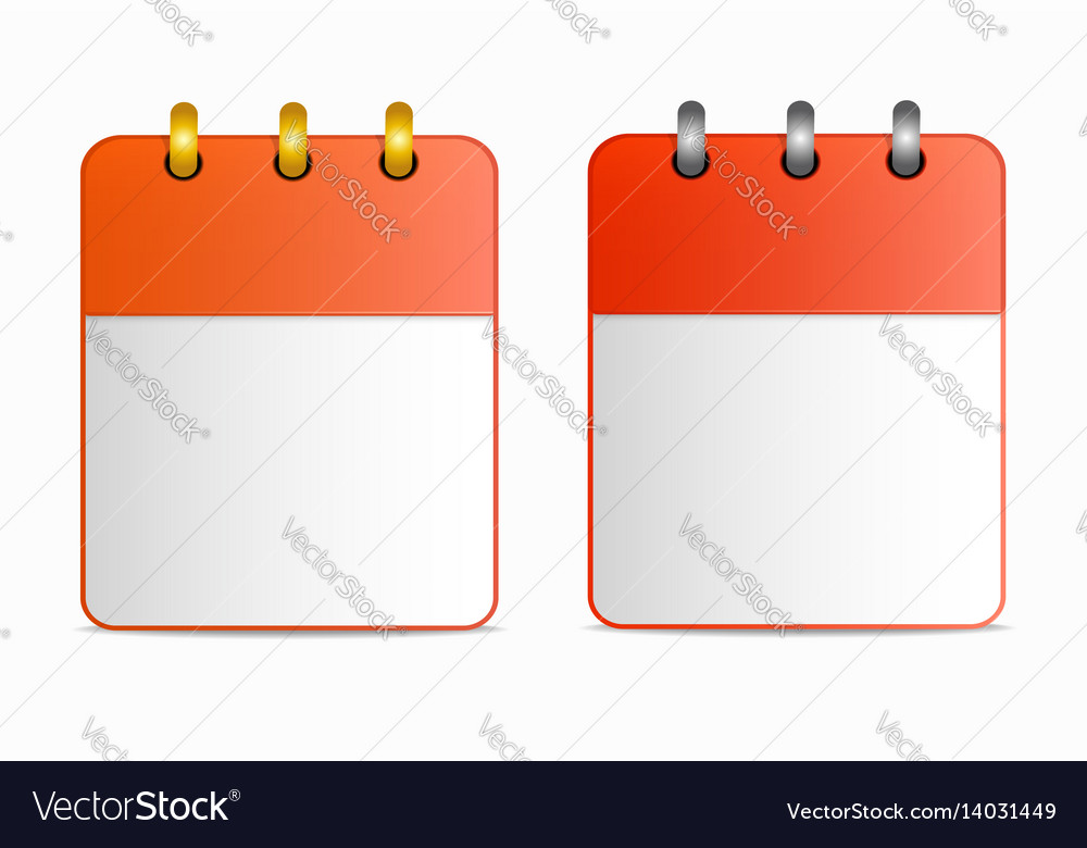 Blank sheet of calendar icon with silver and gold
