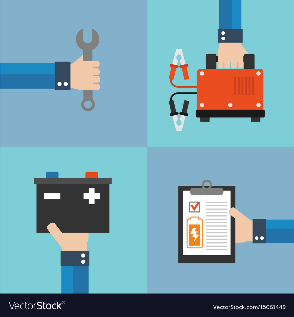 Car battery charger concept flat design vector image