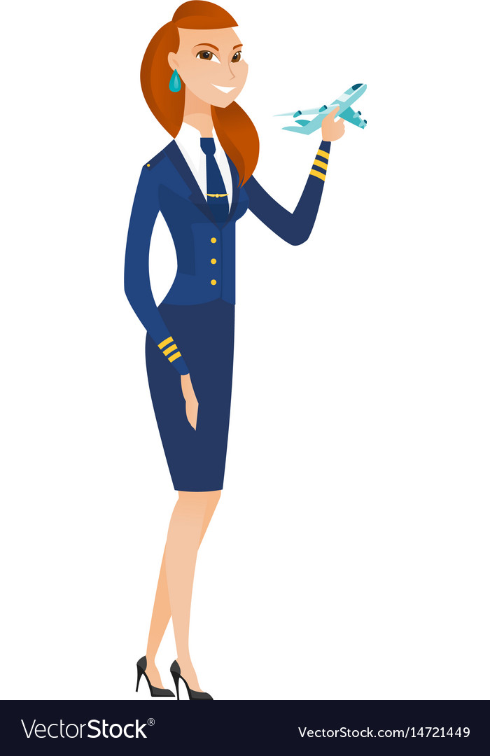 Cheerful stewardess with model of airplane