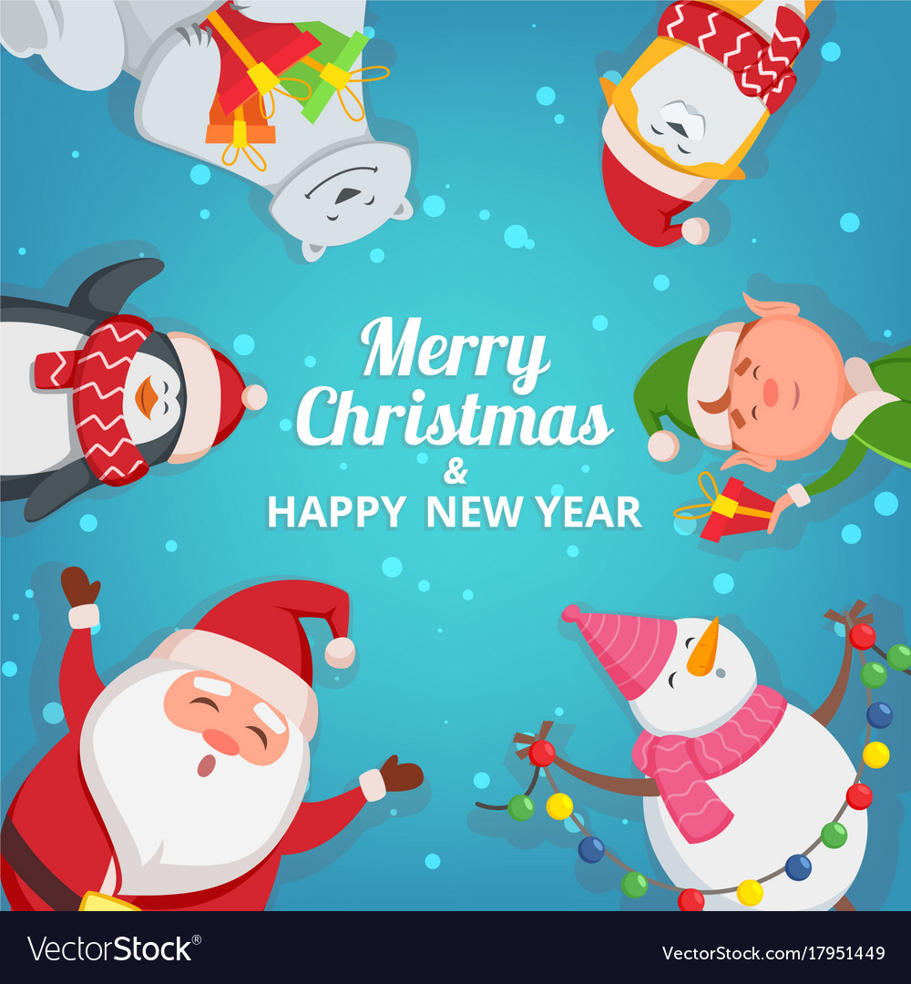 Christmas background with funny characters design