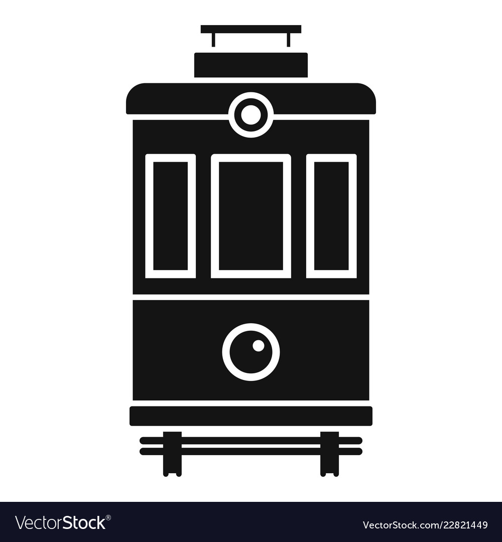 Front view tram icon simple style