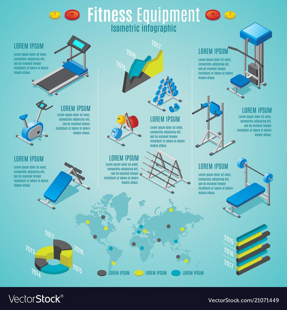 Isometric fitness equipment infographic template