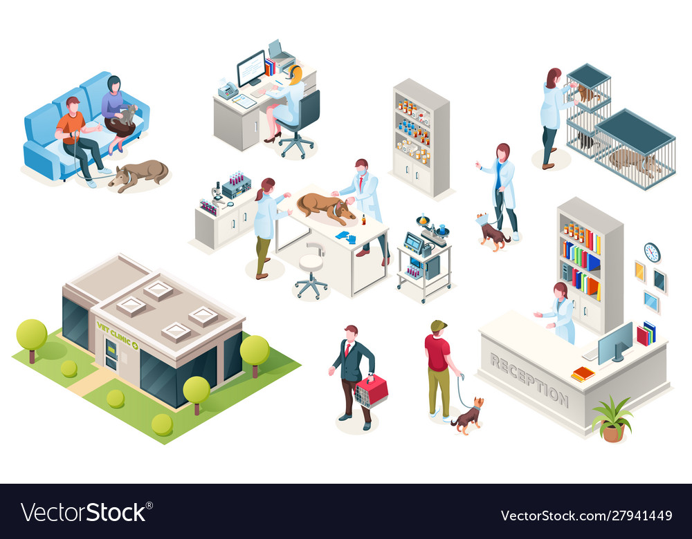Isometric veterinarian clinic pets and doctors