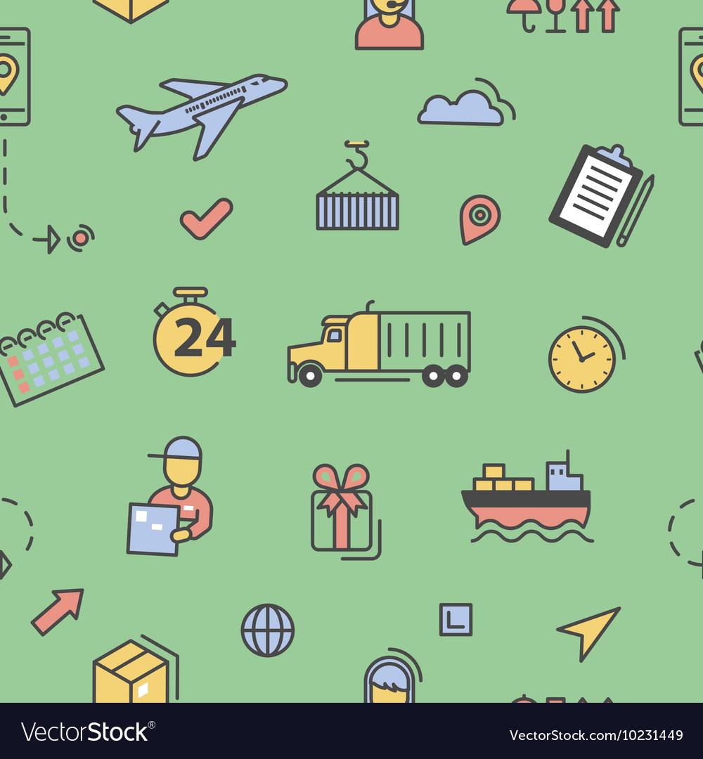 Logistics Shipping Service Seamless Pattern vector image