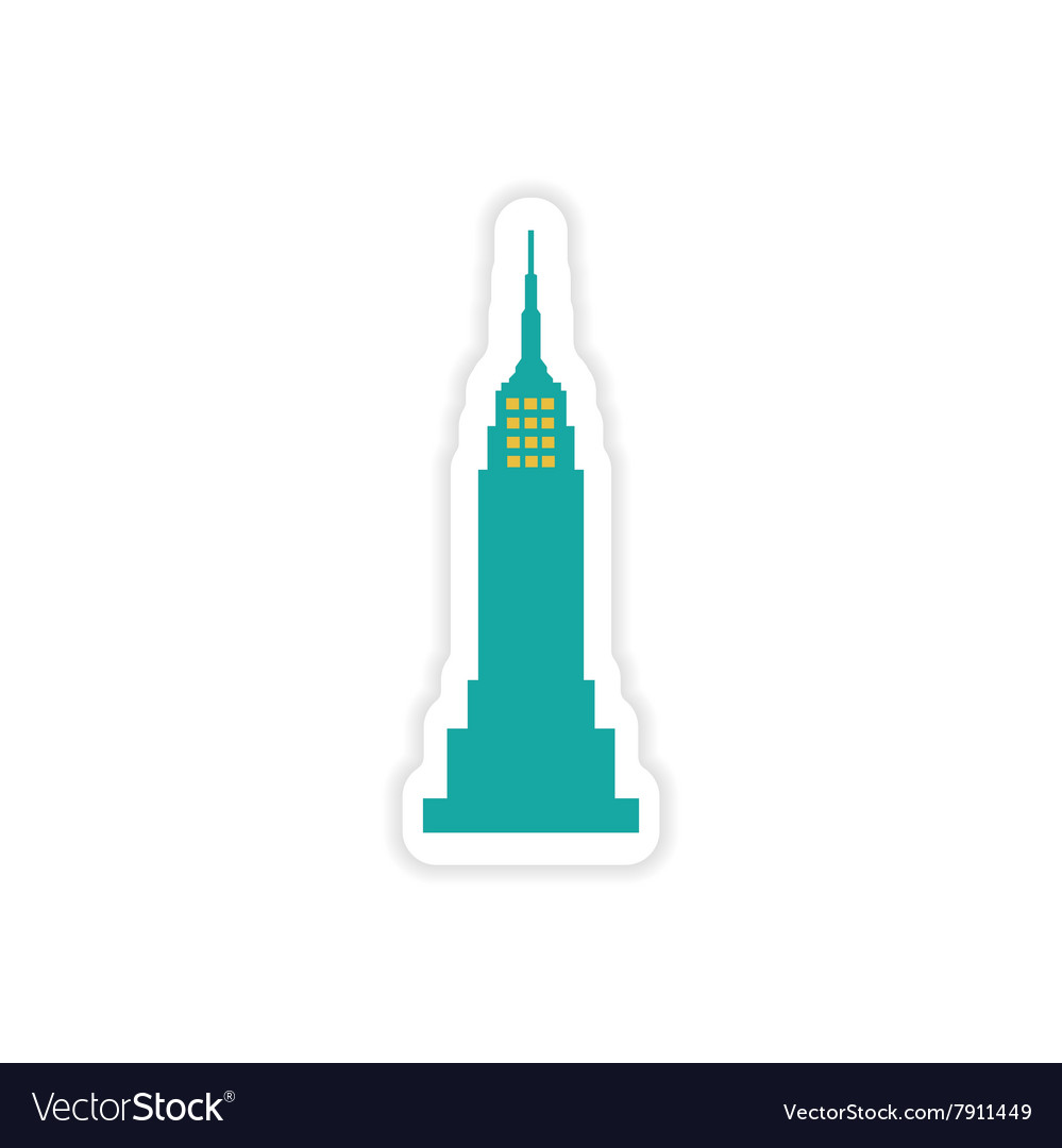 Paper sticker American skyscraper on white