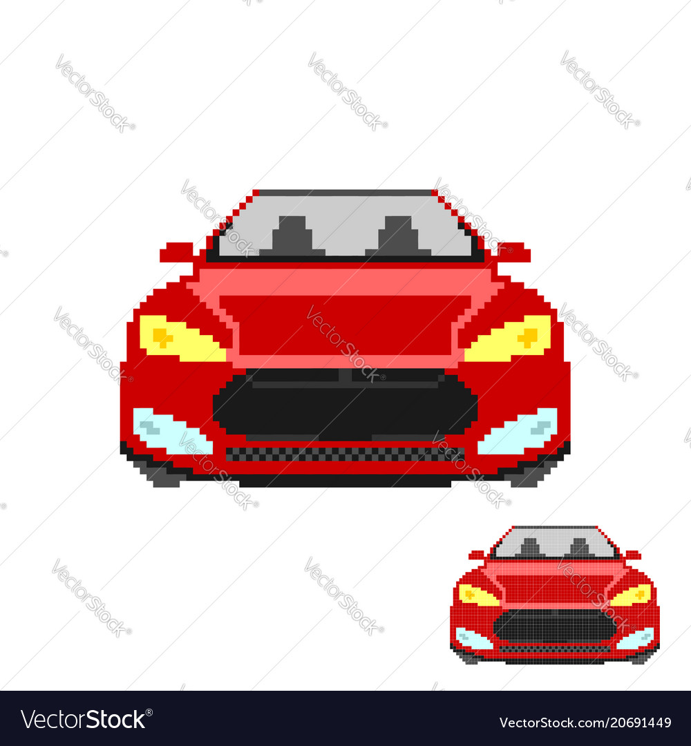 Pixel Art Car Front Isolated
