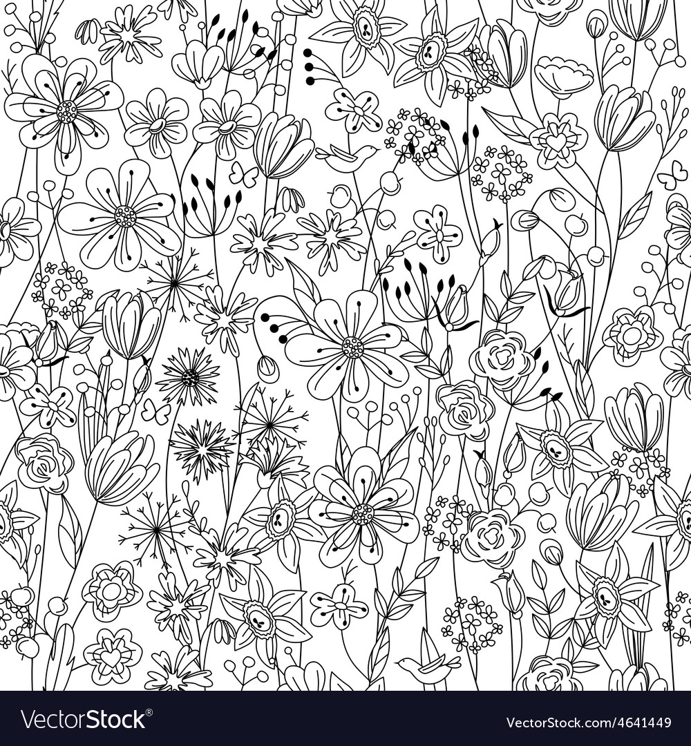 Seamless pattern with contour black-and-white